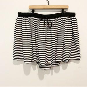 Torrid Black and White Striped Elastic Waist Skirt